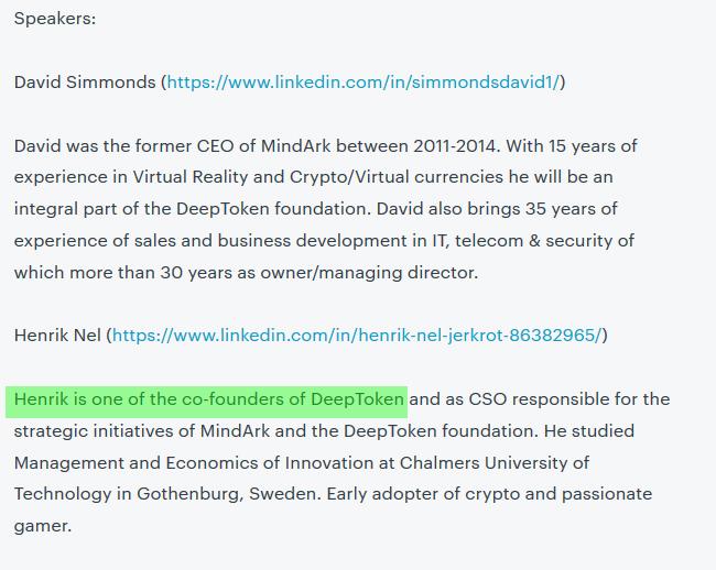 co founder deeptoken.